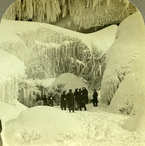USA Niagara Falls Winter cave of the Winds old Zahner Stereo Photo 1900