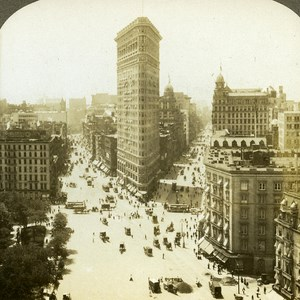USA New York Platiron Building & Fiffh Avenue old Griffith Stereo Photo 1900