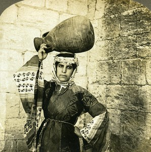 Palestine Nazareth Woman in Traditional Clothes old Rick Stereo Photo 1900