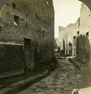 Italia Pompei Street paved with blocks of Lava old Rick Stereo Photo 1900