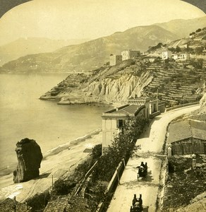 France Corniche Road & Vintinuglia old Rick Stereo Photo 1900