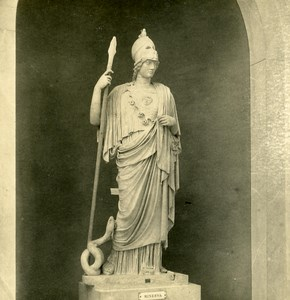 Italy Roma Vatican City Museum Sculpture Minerva old NPG Stereo Photo ca 1900