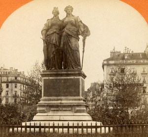 Switzerland Geneva Monument National old Jullien Stereo Photo 1885