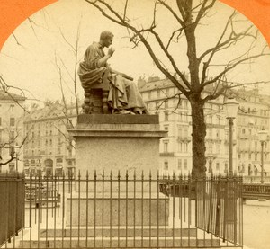 Switzerland Geneva JJ Rousseau Statue old Jullien Stereo Photo 1885