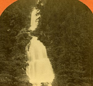 Switzerland Giessbach Falls old Jullien Stereo Photo 1885