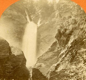 Switzerland Reichenbach Waterfall old Jullien Stereo Photo 1885