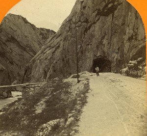 Switzerland Uri St Gothard Road old Jullien Stereo Photo 1885