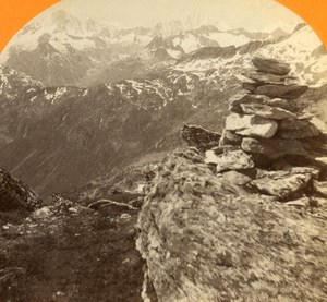 Switzerland View taken from Furkahorn old Jullien Stereo Photo 1885