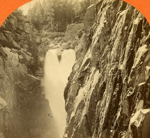 Switzerland Aar Waterfall to Handeck old Jullien Stereo Photo 1885