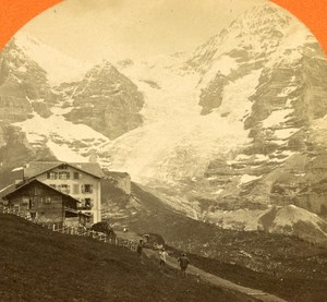Switzerland View taken from Wengernalp old Jullien Stereo Photo 1885