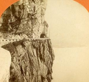 Switzerland Road to Brunnen at Fluelen old Jullien Stereo Photo 1885