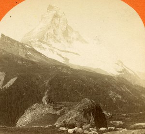 Switzerland Mount Cervin & Hornli old Jullien Stereo Photo 1885
