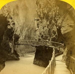 Switzerland Alps Martigny Trient Gorge Old Stereo Photo England 1863