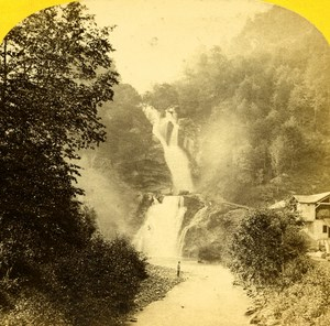 Switzerland Alps Reichenbach Fall Old Stereo Photo England 1863