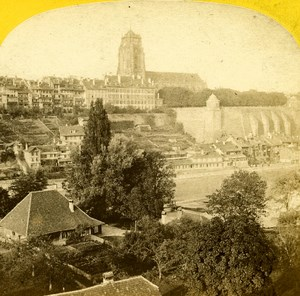 Switzerland Alps Berne Terrasse & Cathedral Old Stereo Photo England 1863