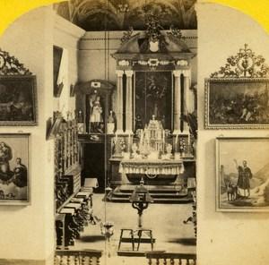 Switzerland Alps Chapel Hospice Grand St Bernard Old Stereo Photo England 1863
