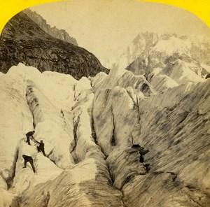 France Alps large Crevasse on Mer de Glace Glacier Old Stereo Photo England 1863