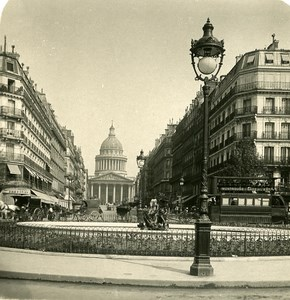France Paris Street Soufflot & Pantheon Old NPG Stereo Photo 1900