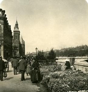 France Paris Quai aux Fleurs Flowers Old NPG Stereo Photo 1900