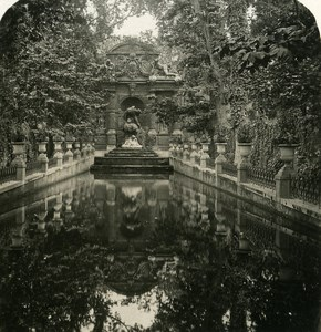 France Paris garden of Luxembourg Fountain Medicis Old NPG Stereo Photo 1900