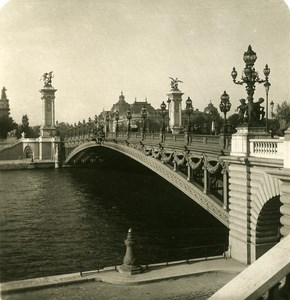 France Paris Bridge Alexander III Old NPG Stereo Photo 1900