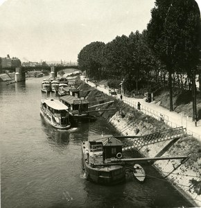 France Paris Seine river at Charenton Old NPG Stereo Photo 1900