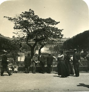 France Paris Garden of Palais Royal Old NPG Stereo Photo 1900