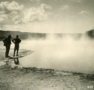 USA Yellowstone Park At the Boiling Lake Old NPG Stereo Photo 1900