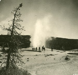 USA Yellowstone Park Crater of Old Faithfull Geyser Old NPG Stereo Photo 1900