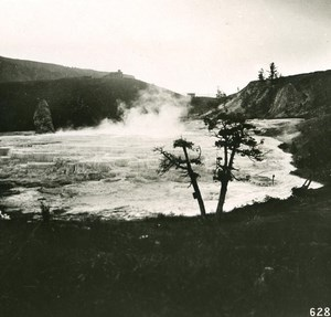 USA Yellowstone Park Geyser Terrace Old NPG Stereo Photo 1900