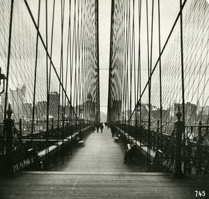 USA New York Brooklyn Bridge Crosswalk Old NPG Stereo Photo 1900