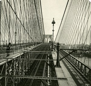 USA New York Brooklyn Bridge Trainwalk Old NPG Stereo Photo 1900