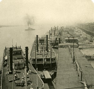 USA Mississipi St Louis Steamer Warf Old NPG Stereo Photo 1900