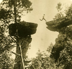 USA St Louis Jump at Table Rock Old NPG Stereo Photo 1900