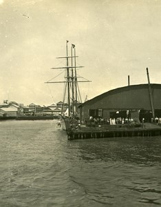 USA Panama Colomb Harbor Old NPG Stereo Photo 1900