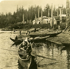 USA Alaska Haida Village of Kasaan Old NPG Stereo Photo 1900