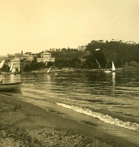 Italy Liguria Riviera Sestri Levante Spiaggia Old NPG Stereo Photo 1900