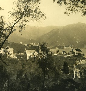 Italy Liguria Riviera Rapallo Pagana Cemetery Old NPG Stereo Photo 1900