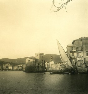 Italy Liguria Riviera Rapallo Spiaggia Old NPG Stereo Photo 1900