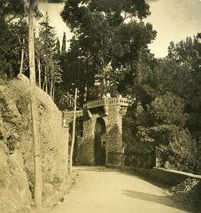 Italy Liguria Riviera Portofino Castle Brown Old NPG Stereo Photo 1900