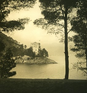 Italy Liguria Riviera Portofino Castle Brown Old NPG Stereo Photo 1900