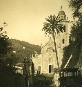 Italy Liguria Riviera Portofino Church Old NPG Stereo Photo 1900