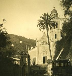 Italy Liguria Riviera Portofino Church Old NPG Stereo Photo 1900