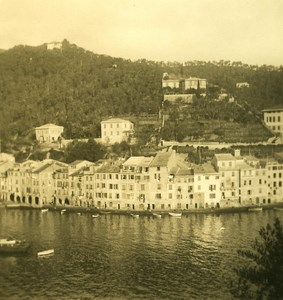 Italy Liguria Riviera Portofino Panorama Old NPG Stereo Photo 1900