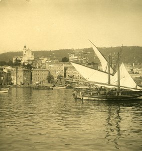 Italy Liguria Riviera Santa Margherita Harbor Old NPG Stereo Photo 1900