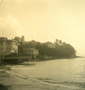 Italy Liguria Riviera Santa Margherita Spiaggia Old NPG Stereo Photo 1900