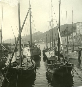 Italy Liguria Riviera Camogli Harbor Old NPG Stereo Photo 1900