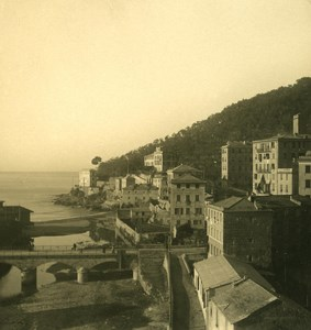 Italy Liguria Riviera Recco Panorama Old NPG Stereo Photo 1900