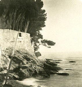 Italy Liguria Riviera Genoa Nervi Sea Front Old NPG Stereo Photo 1900