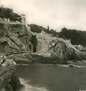 Italy Liguria Riviera Genoa Nervi Devil Rocks Old NPG Stereo Photo 1900